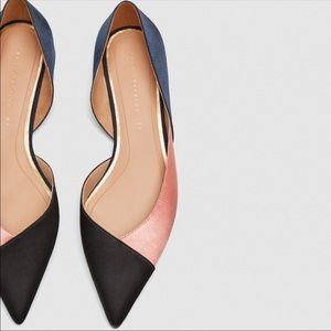 NWT Zara satin color block flats